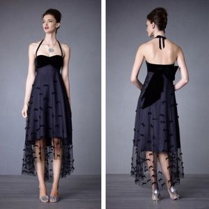 BHLDN Midnight Bow Tulle Formal High Low Dress 2